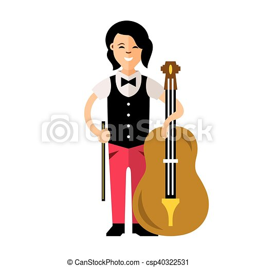 vector the girl with a cello flat style colorful cartoon vectors rh canstockphoto com cello images clip art cello clipart images