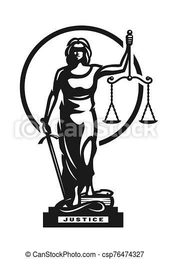 vector, themis, símbolo, justicia, illustration., logo., diosa - csp76474327