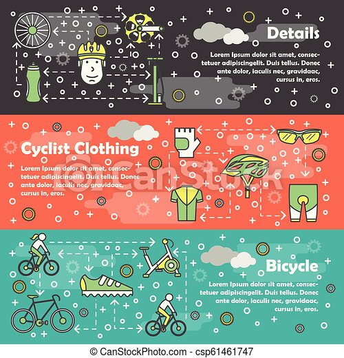Vector thin line art bicycle banner template set - csp61461747