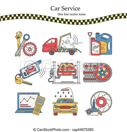 Vector Thin Line Pictogram Symbols Of Car Service Vector Thin Line