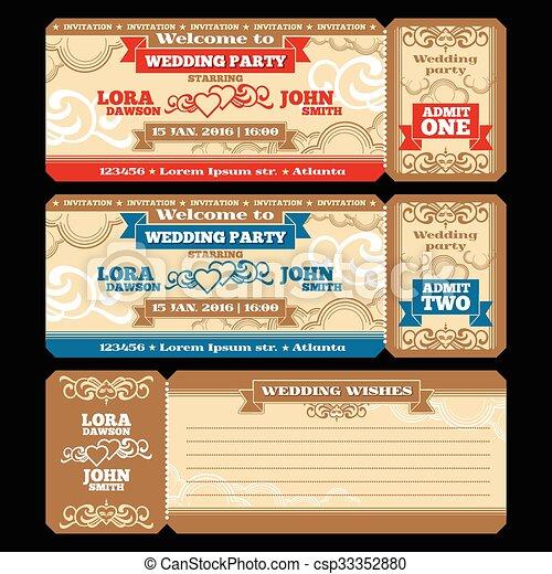 Vector ticket wedding invitation - csp33352880