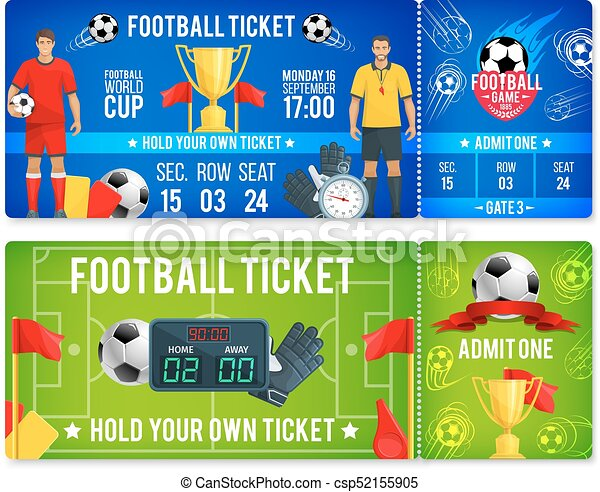vector tickets template for soccer football cup soccer championship