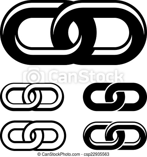 vector together chain black white symbols - csp22935563