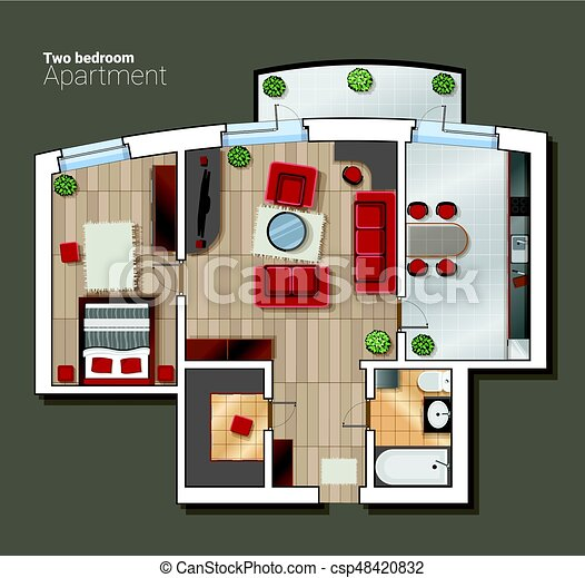 Vector top view floor plan of the house room modern dining