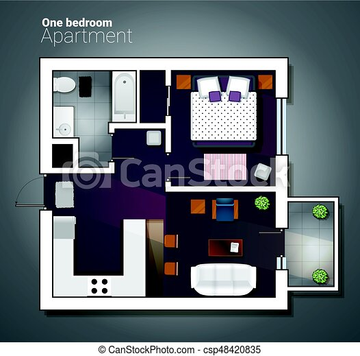 Vector Top View Illustration Of Modern One Bedroom Apartment Detailed Architectural Plan Dining Room Combined With Kitchen Bathroom Home