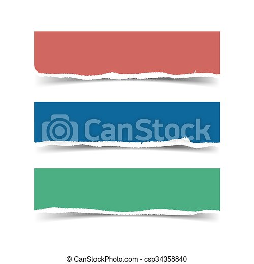 vector torn paper banners with shadow and space for text eps rh canstockphoto com torn paper vector tutorial torn paper vector free
