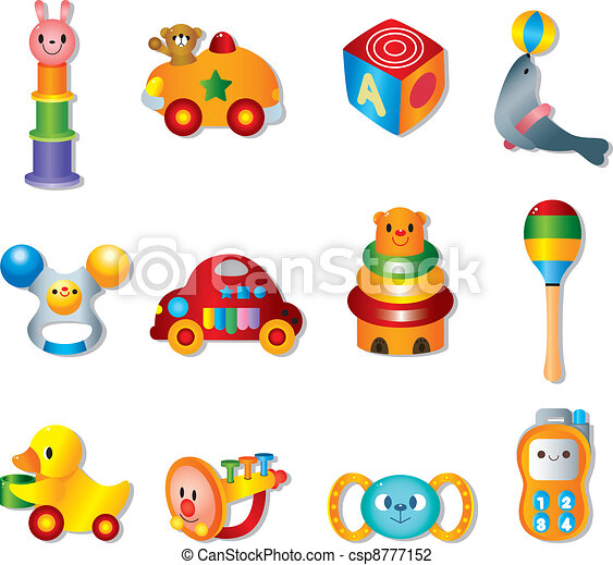 Vector toy icons. Baby toys - csp8777152