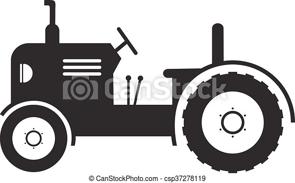 vector Tractor vehicle farm icon on white background - csp37278119