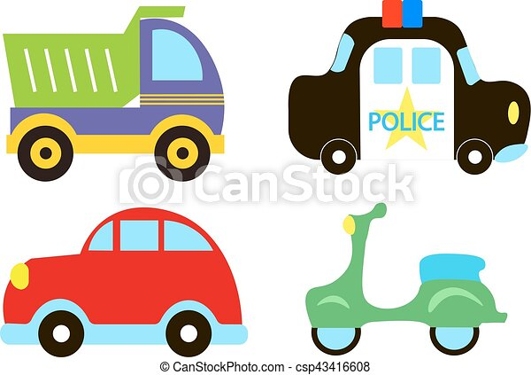 Vector Transportation Theme With Car Police Car Moped Truck