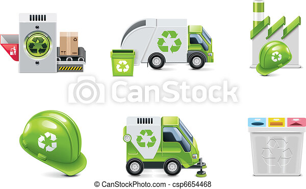 Vector trash recycling icon set - csp6654468