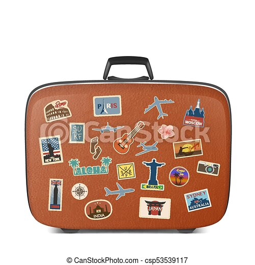 vector travel stickers labels with famous countries cities