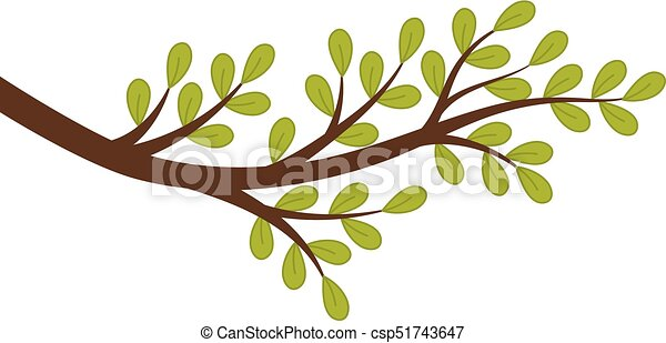 vector tree branch with green leaves vector tree branch with green rh canstockphoto com tree branch vector vector tree branch silhouette