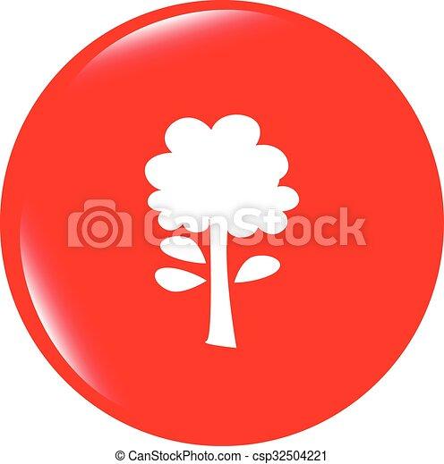 vector Tree icon on round button collection original illustration - csp32504221