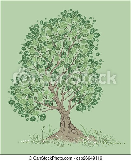Vector Tree on a Green Background - csp26649119