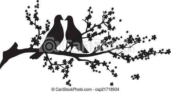 Vector - tree with birds - csp21718934