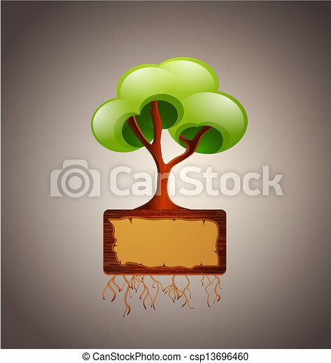 vector tree with space for text (design element) - csp13696460