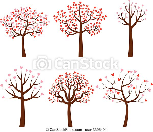 Vector trees with red and pink heart shaped leaves cartoon trees set vector trees with red and pink heart shaped leaves mightylinksfo