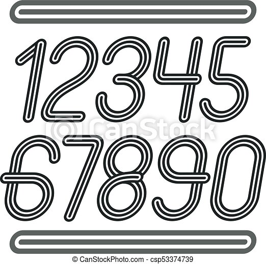 Vector trendy numbers collection  Retro italic numerals from 0 to 9 best  for use in poster creation  Created using geometric triple stripes