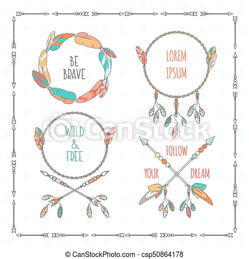 Vector tribal boho style frames with inspirational quotes