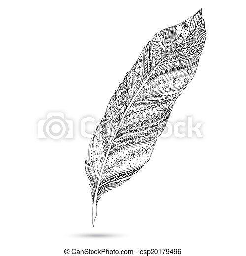 Vector tribal feather. Series of doodle feather. - csp20179496
