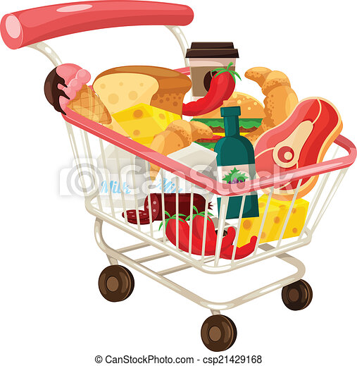 vector trolley full of delicious food rh canstockphoto com supermarket trolley clipart clipart trolley car