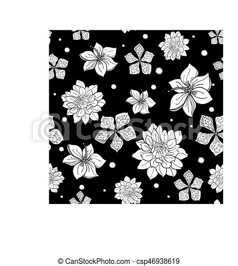 Vector tropical black and white flowers seamless repeat pattern vector tropical black and white flowers seamless repeat pattern background design great for summer party invitations fabric wallpaper giftwrap paper mightylinksfo