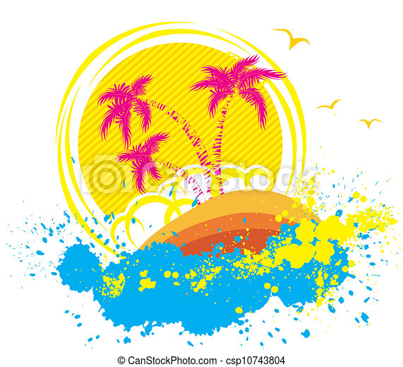 Vector tropical island.Abstract grunge background - csp10743804