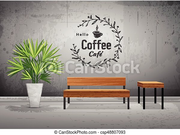 Fine Vector Tropical Tree In Cement Pots With Wooden Chair Inzonedesignstudio Interior Chair Design Inzonedesignstudiocom