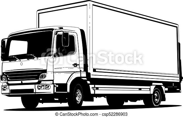 vector truck outline template isolated on white available vector rh canstockphoto com vector truck graphics vector truck graphics