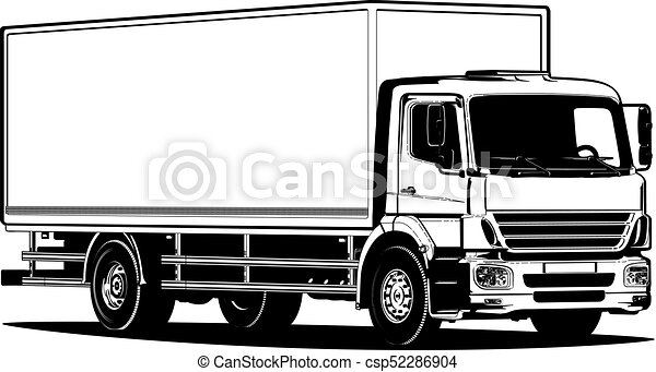 vector truck outline template isolated on white available eps 8