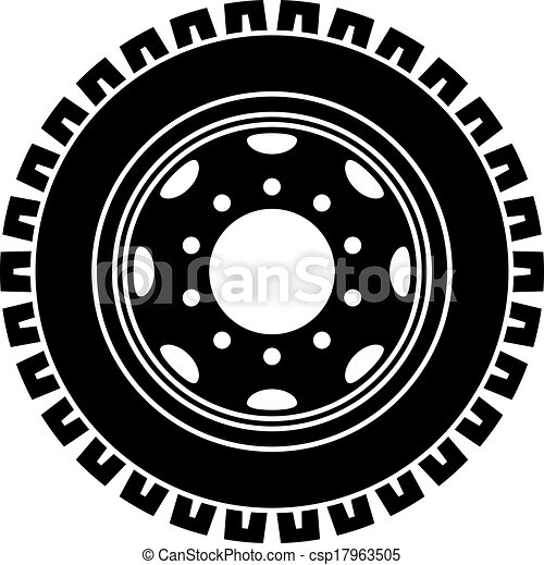 vector truck wheel black white symbol - csp17963505