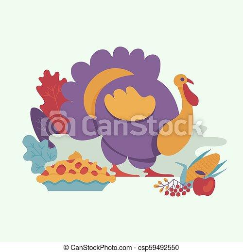 Vector turkey bird flat illustration isolated - csp59492550