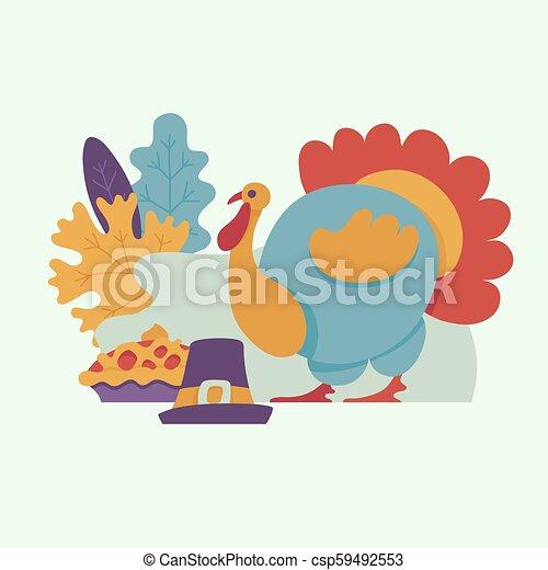 Vector turkey bird flat illustration isolated - csp59492553