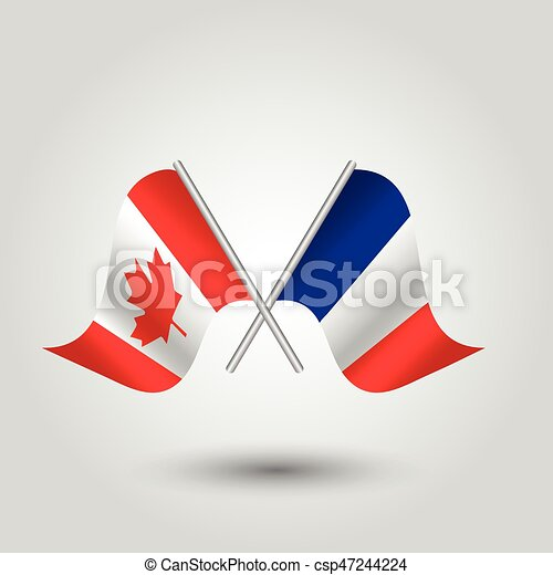 Vector Two Crossed Canadian And French Flags On Silver Sticks