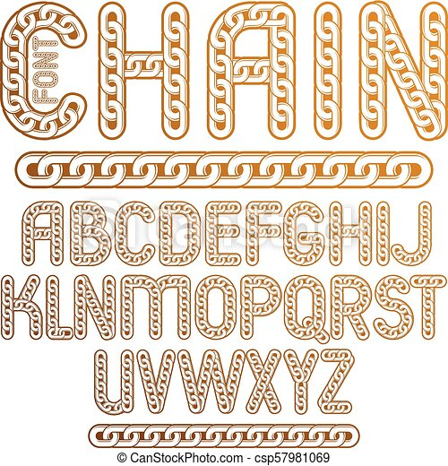 Vector type font, script from a to z  Capital creative letters made with  iron chain, linked connection