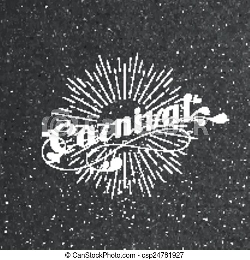vector typographical illustration with ornate word carnival and light rays on the black cardboard texture - csp24781927