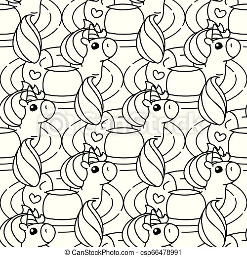Vector Unicorn Pattern Coloring Page Vector Rainbow Unicorn Pattern Coloring Book Page Canstock