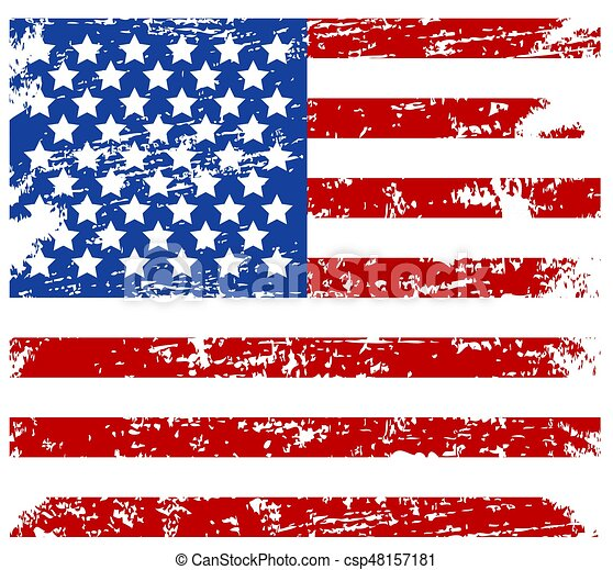 Vector Usa Grunge Flag Painted American Symbol Of Freedom