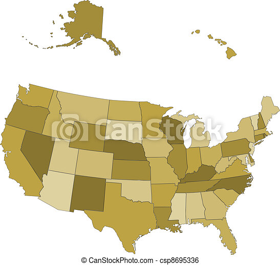 Vector USA map -  states separated in the groups - csp8695336