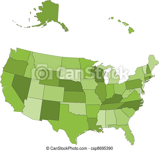 Vector USA map -  states separated in the groups - csp8695390
