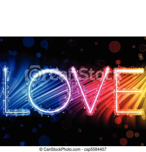 Vector - Valentine Day Love Word Abstract Colorful Waves Rainbow Background - csp5584407