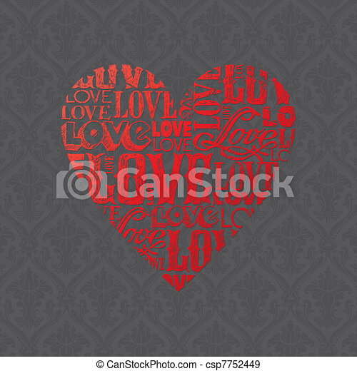 Vector Valentines card with heart - csp7752449