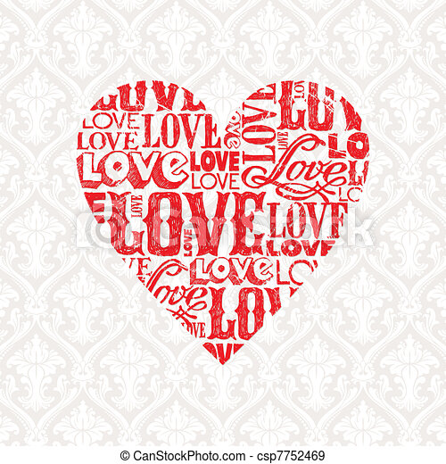 Vector Valentines card with heart - csp7752469
