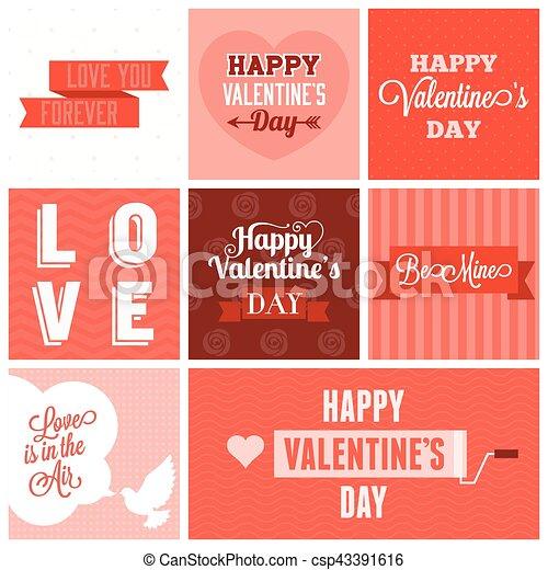 Vector valentine`s day set, headline, labels, emblems and other decorative elements. set 4 - csp43391616