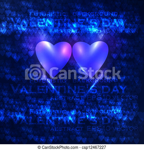 Vector valentines hearts illustration, abstract background , futuristic heart eps10 - csp12467227