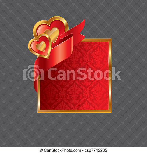 Vector Valentines illustration with golden luxury ornate frame with hearts and ribbon - csp7742285