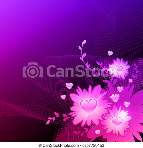 Vector valentines illustration with floral heart - csp7720453