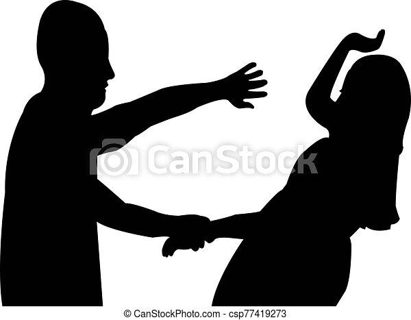 vector, vecht, silhouette, paar - csp77419273