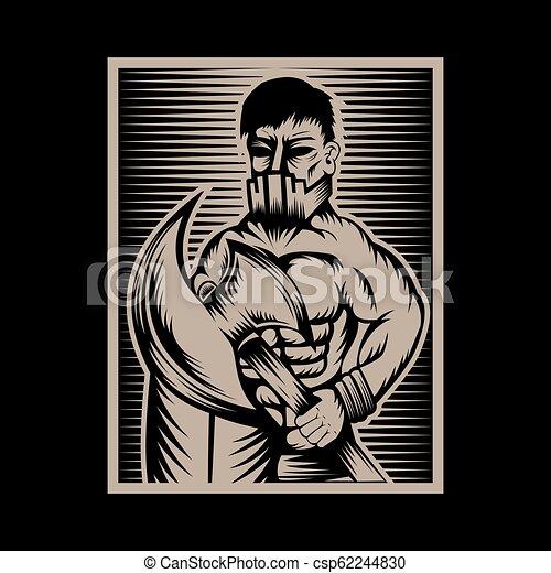 vector, vechter, illustratie, bijl - csp62244830