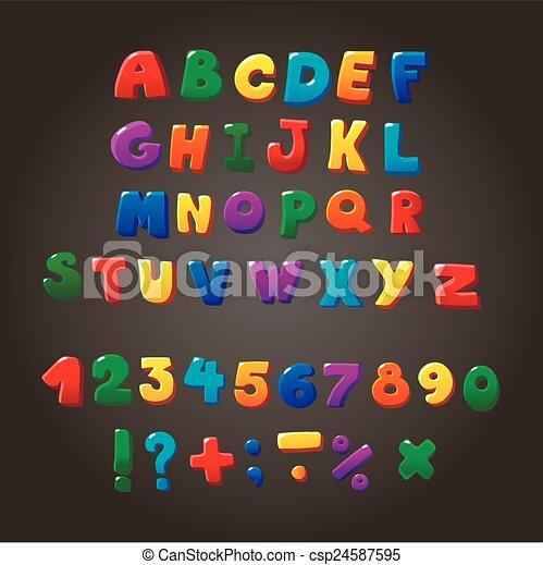 vector, veelkleurig, symbolen, brieven, lettertype, orthographic, geitjes, getallen - csp24587595